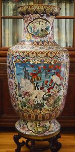 Large Vintage Chinese Cloisonne Vase 39 5 Inches Tall