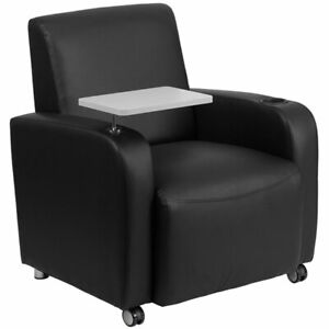 Flash Furniture Leather Guest Chair With Cup Holder In Black