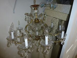 Crystal Chandelier Vintage 11 Light Single Tier High Quality Olde World
