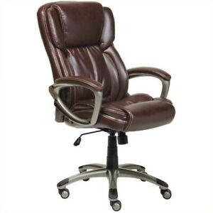 Serta Executive Office Chair With Arms In Brown Bonded Leather