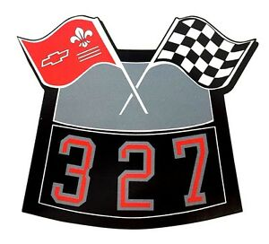327 Flags Chrome Air Cleaner Decal Chevy Camaro Chevelle Nova Truck Caprice