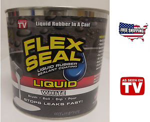 Flex Seal Liquid Rubber Sealant White 32oz As Seen On Tv Brush Roll Dip Pour