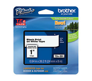 Brother Tz 251 Tz251 P touch Tape 6 Pack Label Tape