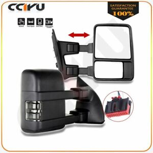 For 08 16 Ford F250 F350 F450 F550 Super Duty Towing Manual Signal Mirrors Pair