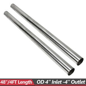 2x 4 4ft 89mm T304 Stainless Steel Straight Exhaust Pipe Tube Piping Tubing