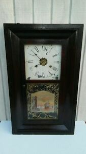 Antique New Haven Weight Driven Clock Reverse Painted Nautical C 1860s