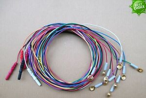 10pcs Din 1 5mm Gold plated Copper Cap Colorful Electrodes Sleep Brain Eeg Cable