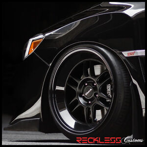 18 Klutch Ml1 Wheels Matte Gloss Black Deep Lip Rims Fits Acura Rsx Tsx