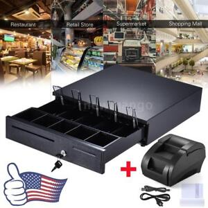 Usb 58mm Pos Thermal Receipt Printer cash Register Drawer Box 5 Bill 5 Coin Tray