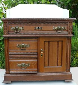 Beautiful Antique Victorian Marble Top 3 Drawer Dresser Chest