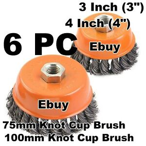 6pc 3 4 Wire Cup Brush Twist Style Wheel Grinding Metalworking Cleaner 5 8