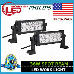 2x 8inch 36w Philips Led Work Light Bar Spot Suv Jeep Ute Boat 4wd Driving Lamp