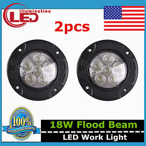 2x 3 5inch 18w Round Led Work Light Flood Off Road Driving 4wd Truck Flush Mount