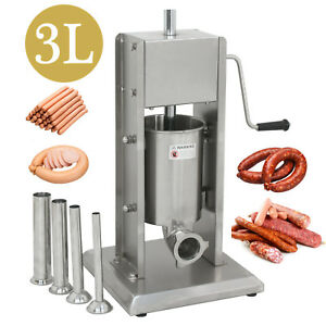 Commercial 3l 7lb Dual Speed Vertical Stainless Steel Sausage Stuffer W 4 Tubes