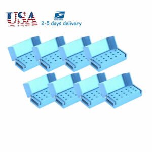 10x Aluminium Dental Bur Burs Holder Block Disinfection Box Autoclave 15 Holes