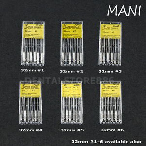 Mani Dental Endodontic Root Gates Glidden Drills 32mm 1 2 3 4 5 6 1 6