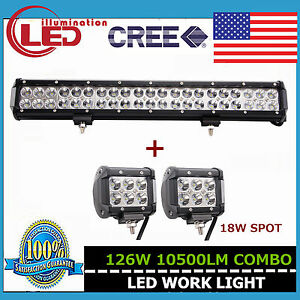 20inch 126w Cree Combo Led Light Bar Suv Jeep Truck Lamp With 2x 4 18w Spot Pod