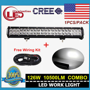 20 126w Cree Led Light Bar Combo Off road Driving Truck Atv With Wiring Harness