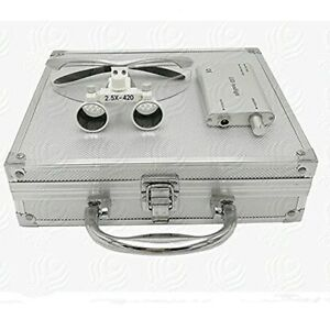 Dental Surgical 2 5x420mm Binocular Loupes Led Headlight Aluminum Box Silver