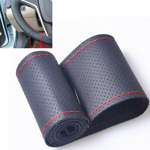 Diy Pu Leather Steering Wheel Cover 38cm 15inch With Needles Thread Black Red