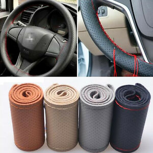 Car Truck Genuine Leather Steering Wheel Cover With Needles And Red Thread Diy