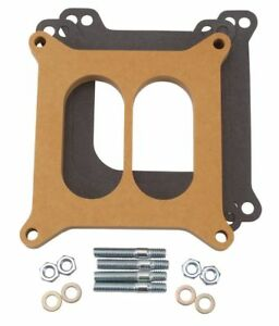 Edelbrock 8725 Carburetor Spacer 4 Barrel Square Bore 1 2 Wood Divided Wall