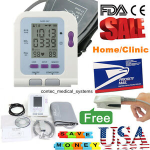 Big Lcd Digital Upper Arm Blood Pressure Monitor Bp Cuff Spo2 Probe pc Software