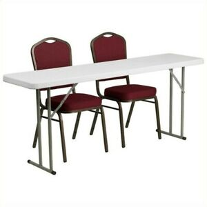 Flash Furniture Folding Table And 2 Stacking Chairs In Red And White
