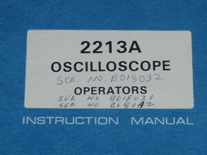 Tektronix Operators Instruction Manual For 2213a Oscilloscope