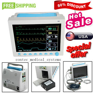Portable Multi parameter Vital Signs Patient Monitor Icu ccu Machine Kit Cms8000