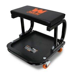 Mechanic Creeper Seat Garage Rolling Work Shop Stool Cart Tray Storage