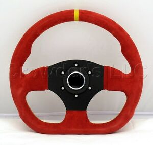 Sport Line Racing Steering Wheel 300mm Competition Red Suede Yellow Stripe