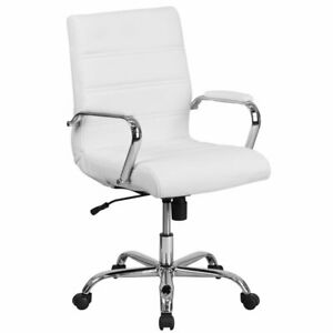Flash Furniture Mid Back Leathersoft Office Swivel Chair In White And Chrome