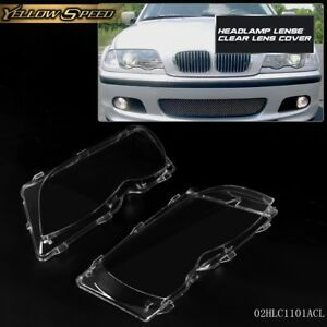2pcs Headlight Clear Lense Cover For Bmw E46 3 Series 4dr 2002 2005