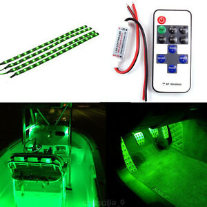 Wireless Remote Control 30cm Led Light Strip Kit Boat And Car Motorcycle Green