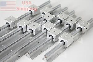 Sbr12 1000 600 300mm Cnc Linear Slide Guide Shaft 6 Rail 12 Sbr20uu Bearing