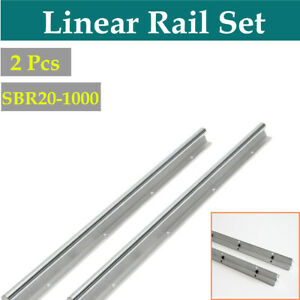 2x Sbr20 L1000mm Linear Bearing Rail Fully Supported For Cnc Diy