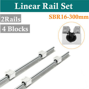 Cnc Linear Motion 300mm Sbr16 Linear Bearing Rail Guide 4pcs Sbr16uu