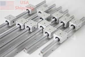 Linear Slide Guide Sbr12 300 600 1000mm 6 Rail With 12 Sbr12uu Bearing Block Cnc