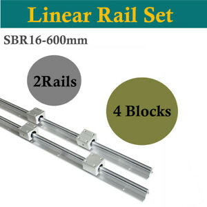 Cnc Linear Motion 600mm 2pcs Sbr16 Linear Bearing Rail Guide 4pcs Sbr16uu