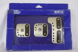 Set Sparco Racing Pedal 3 Piece Anodized Metal 12 Micron Silver Black Grip