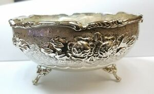 Antique 835 Silver Footed Bowl With Flower Design