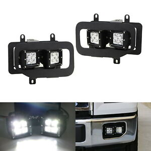 80w Cree Cubic Led Foglamps W mounting Brackets Bezels For 2015 2017 Ford F 150