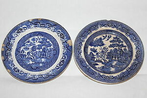 Two Antique English Staffordshire Pottery L Straus Sons Ny Plates Blue Willow