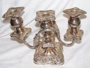 Vintage Silver Plate On Copper Ornate Candelabra 3 Arm Candlestick Sheffield