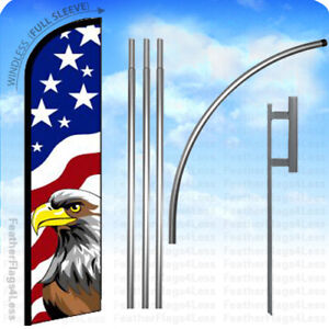 Usa Eagle Windless Swooper Flag Kit 15 Feather American Banner Sign F