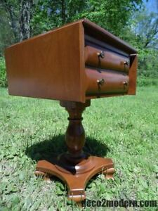Vintage Rockport Maple 2 Drawer Pedestal Drop Leaf Table Entry Stand Nightstand