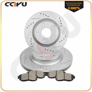 Front Brake Discs Rotors And Ceramic Pads For Altima 2007 2012 Drilled Slotted