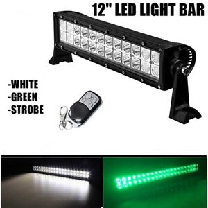 Green Led Light Bar 12 Hog Hunting Atv Utv Jeep Off Road 4x4 Strobe Light
