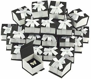 Lot Of 36 Ring Box Magnetic Ribbon Ring Box Showcase Box Black Jewelry Gift Box